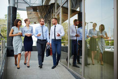 Young People Leaving Office Building. Group of young successful business people leaving modern office building and smiling cheerfully chatting on the way stock images