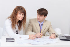 Young people are in light office Royalty Free Stock Photo