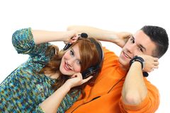 Young people listen to music Royalty Free Stock Photos