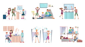 Young people living in hostel. Men and women in cheap hotel. Vector illustration set, isolated on white. Stock Images