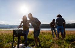 Young people making BBQ at lakeside meadow Royalty Free Stock Photos