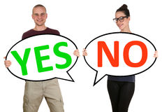 Young people man woman choosing voting yes no Royalty Free Stock Photos