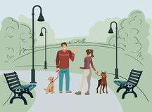 Young people, man and woman, walk in the park with their dogs in the morning vector illustration
