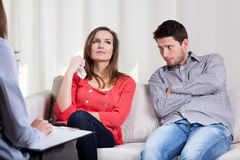 Young people on marriage therapy royalty free stock image