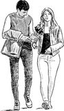 The young people met on a date. Vector drawing of a young couple going on a stroll Stock Photography