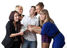 Young people with money Stock Photo