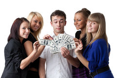 Young people with money Royalty Free Stock Images