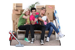 Young people moving in together Stock Image