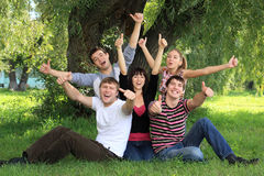 Young people on nature. Royalty Free Stock Photography