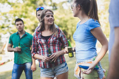 Young people in nature having fun Stock Photos