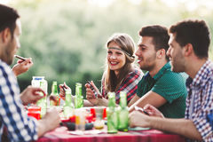 Young people in nature having fun Stock Photo