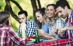 Young people in nature having fun Stock Image