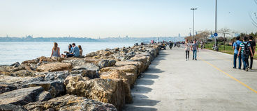 Young people near the Bosphorus in Istanbul, Turkey Stock Photos