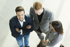 Young people in the office photographed from above Royalty Free Stock Image