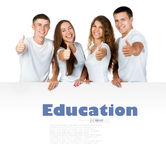 Young people out white board Royalty Free Stock Photo