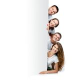 Young people out white board Royalty Free Stock Image