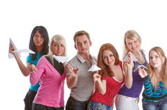 Young people with paper planes. Royalty Free Stock Photography