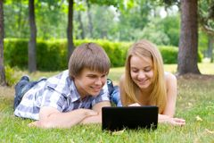 Young people in the park. Having fan Stock Image