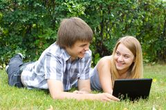Young people in the park Royalty Free Stock Image