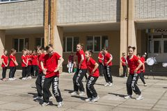Young people participate in the dance competition stock images
