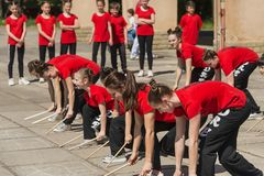 Young people participate in the dance competition royalty free stock image