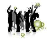 Young people party, silhouette Royalty Free Stock Images
