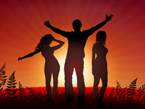 Young people party on sunset background Royalty Free Stock Photography