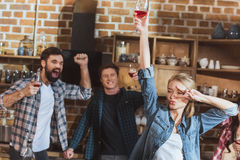 Young people partying. Drinking wine and having fun at home party Royalty Free Stock Photo