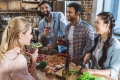 Young people partying at home Stock Photo