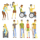 Young People With Permanent And Temporary Disabilities Overcoming The Injury And Living Full Live Collection Of Vector Stock Photo