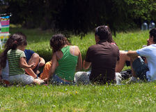 Young people at picnic. A young people group at picnic Stock Photo