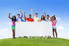Young People With Placard Stock Photography