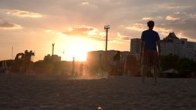 Young people playing on the beach in a frisbee. stock footage