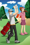 Young people playing golf Stock Photography