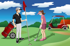 Young people playing golf Royalty Free Stock Images