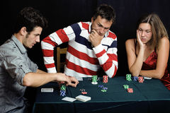 Young people playing poker off-line tournament Royalty Free Stock Photography