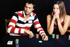 Young people playing poker off-line tournament, friends party concept at home Royalty Free Stock Photo