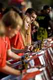 Young people playing steel drums. Young people from the Croydon Steel Orchestra playing steel drums at the Notting Hill Panorama Championships in Hyde park Royalty Free Stock Photography