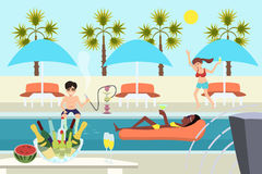 Young people at pool party vector cartoon Stock Image