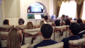Young people at the presentation of network marketing. stock video