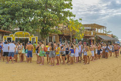 Young People Queuing at Jericoacoara Brazil Stock Image