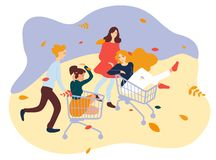 Young people racing with shopping cart. Friends having fun on trolleys. Young people racing with shopping cart. Friends having fun on trolleys vector illustration
