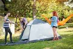 Young people raising tent in woods Stock Images