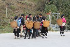 Teens of the Red Yao hilltribe are meeting, Dazhai / Longsheng,China Stock Photo