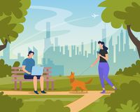 Young People Relaxing in City Park at Summer Time. Woman Character Walking with Dog and Messaging in Smartphone. Man Work on Laptop Sitting on Bench. Human royalty free illustration