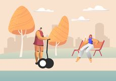 Young People Relaxing in City Park at Summertime, Man Riding Hoverboard, Woman Sitting on Bench. Dwellers Having Spare Time. Or Leisure on Weekend, Resting vector illustration