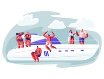 Young People Relaxing on Luxury Yacht at Ocean royalty free illustration