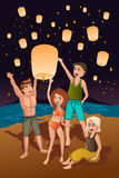 Young people releasing paper lanterns. A vector illustration of young people releasing paper lanterns Stock Images