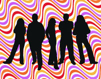 Young people on retro background. Silhouettes of young people on retro background Royalty Free Stock Image