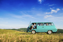 Young people on a road trip Stock Image